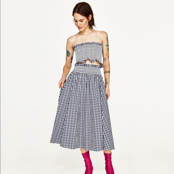 57e2b7367f Zara Skirts | Nwot Gingham Two Piece Top Skirt | Poshmark